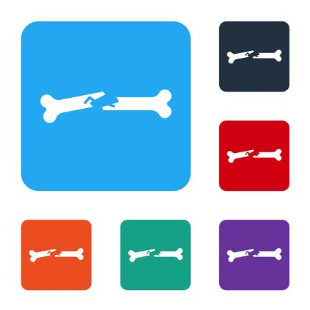 White Human broken bone icon isolated on white background. Set icons in color square buttons. Vector Illustration