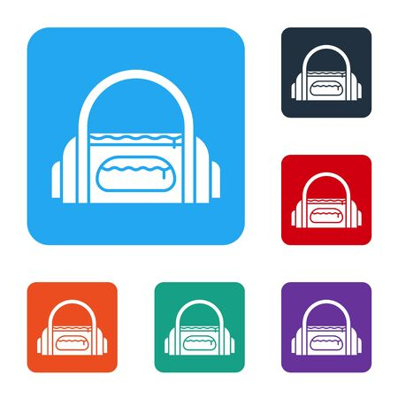White Sport bag icon isolated on white background. Set icons in color square buttons. Vector Illustration