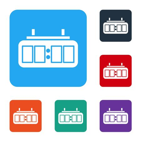 White Sport hockey mechanical scoreboard and result display icon isolated on white background. Set icons in color square buttons. Vector Illustration