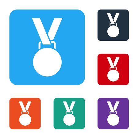 White Medal icon isolated on white background. Winner symbol. Set icons in color square buttons. Vector Illustration