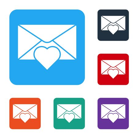 White Envelope with Valentine heart icon isolated on white background. Message love. Letter love and romance. Set icons in color square buttons. Vector Illustration