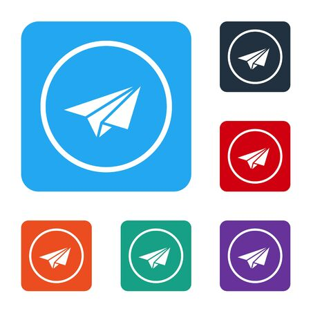 White Paper plane icon isolated on white background. Paper airplane icon. Aircraft sign. Set icons in color square buttons. Vector Illustration