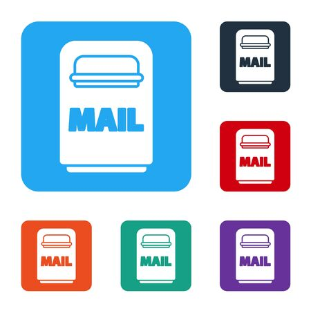 White Mail box icon isolated on white background. Mailbox icon. Mail postbox on pole with flag. Set icons in color square buttons. Vector Illustration