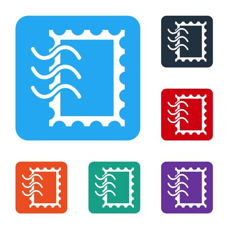 White Postal stamp icon isolated on white background. Set icons in color square buttons. Vector Illustration