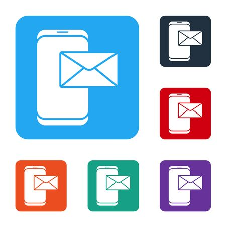 White Mobile and envelope, new message, mail icon isolated on white background. Usage for e-mail newsletters, headers, blog posts. Set icons in color square buttons. Vector Illustration Ilustrace