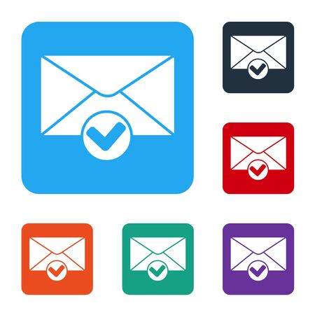 White Envelope and check mark icon isolated on white background. Successful e-mail delivery, email delivery confirmation. Set icons in color square buttons. Vector Illustration