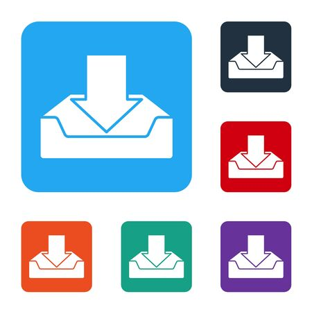 White Download inbox icon isolated on white background. Set icons in color square buttons. Vector Illustration