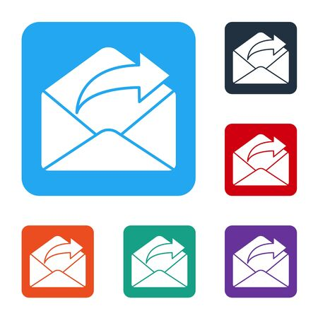 White Outgoing mail icon isolated on white background. Envelope symbol. Outgoing message sign. Mail navigation button. Set icons in color square buttons. Vector Illustration