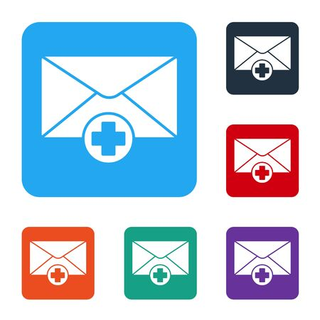 White Envelope icon isolated on white background. Received message concept. New, email incoming message, sms. Mail delivery service. Set icons in color square buttons. Vector Illustration Ilustrace