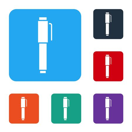 White Pen icon isolated on white background. Set icons in color square buttons. Vector Illustration