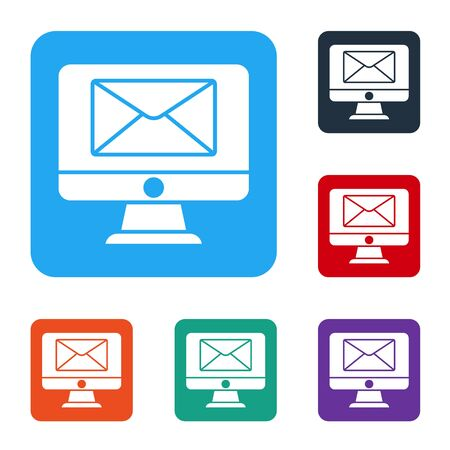 White Monitor and envelope, new message, mail icon isolated on white background. Usage for e-mail newsletters, headers, blog posts. Set icons in color square buttons. Vector Illustration Ilustrace