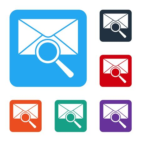 White Envelope mail with magnifying glass icon isolated on white background. Set icons in color square buttons. Vector Illustration