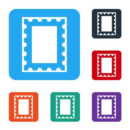 White Postal stamp icon isolated on white background. Set icons in color square buttons. Vector Illustration Ilustrace