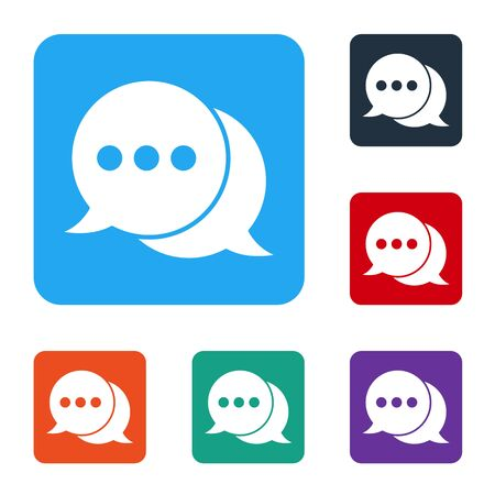 White Speech bubble chat icon isolated on white background. Message icon. Communication or comment chat symbol. Set icons in color square buttons. Vector Illustration