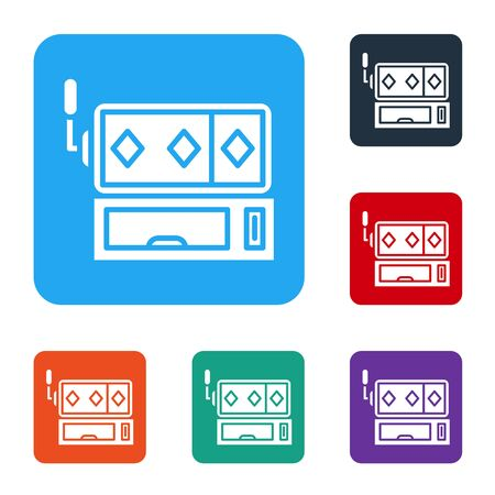 White Slot machine icon isolated on white background. Set icons in color square buttons. Vector Illustration