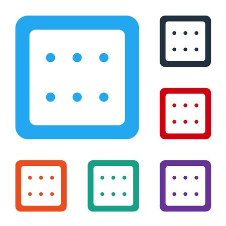 White Game dice icon isolated on white background. Casino gambling. Set icons in color square buttons. Vector Illustration Vector Illustration