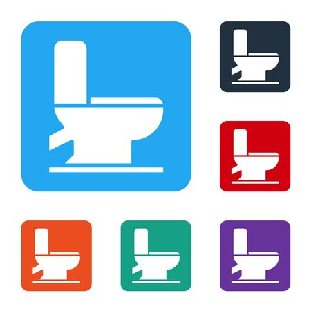 White Toilet bowl icon isolated on white background. Set icons in color square buttons. Vector Illustration 일러스트