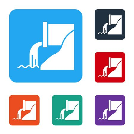 White Wastewater icon isolated on white background. Sewer pipe. From the pipe flowing liquid into the river. Set icons in color square buttons. Vector Illustration Ilustração