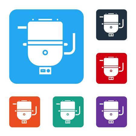 White Electric boiler for heating water icon isolated on white background. Set icons in color square buttons. Vector Illustration