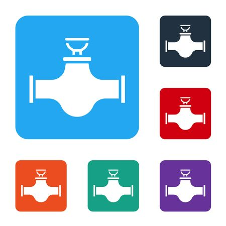 White Industry metallic pipe and valve icon isolated on white background. Set icons in color square buttons. Vector Illustration Ilustrace
