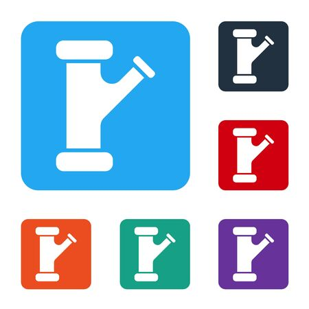 White Industry metallic pipe icon isolated on white background. Plumbing pipeline parts of different shapes. Set icons in color square buttons. Vector Illustration Ilustrace