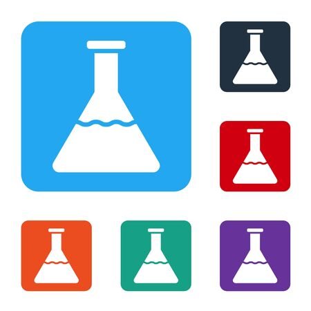 White Test tube and flask chemical laboratory test icon isolated on white background. Laboratory glassware sign. Set icons in color square buttons. Vector Illustration
