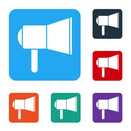White Megaphone icon isolated on white background. Speaker sign. Set icons in color square buttons. Vector Illustration