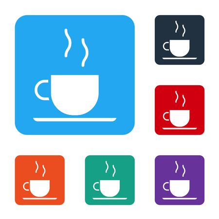 White Coffee cup icon isolated on white background. Tea cup. Hot drink coffee. Set icons in color square buttons. Vector Illustration 일러스트