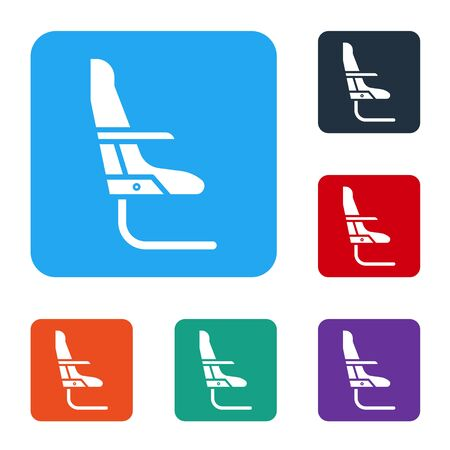 White Airplane seat icon isolated on white background. Set icons in color square buttons. Vector Illustration