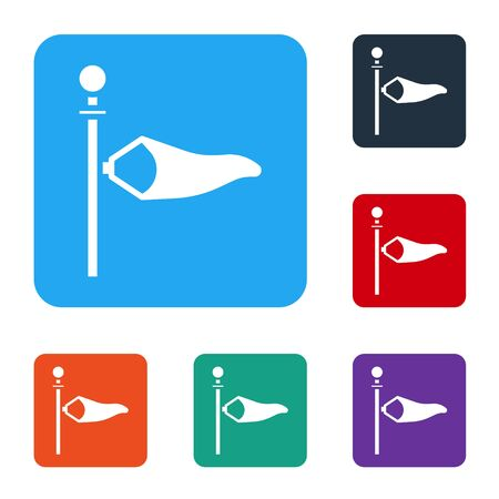 White Cone meteorology windsock wind vane icon isolated on white background. Windsock indicate the direction and strength of the wind. Set icons in color square buttons. Vector Illustration Vettoriali