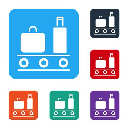 White Airport conveyor belt with passenger luggage, suitcase, bag, baggage icon isolated on white background. Set icons in color square buttons. Vector Illustration