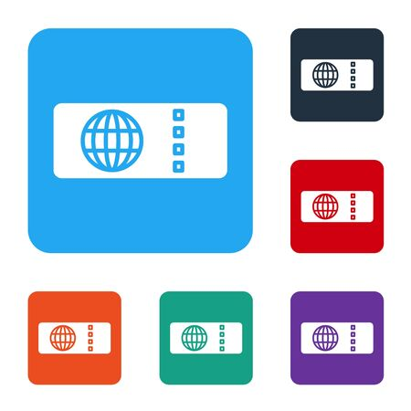 White Airline ticket icon isolated on white background. Plane ticket. Set icons in color square buttons. Vector Illustration