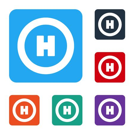 White Helicopter landing pad icon isolated on white background. Helipad, area, platform, H letter. Set icons in color square buttons. Vector Illustration