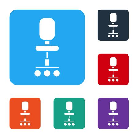 White Office chair icon isolated on white background. Set icons in color square buttons. Vector Illustration