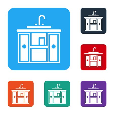 White Washbasin cabinet with water tap icon isolated on white background. Set icons in color square buttons. Vector Illustration