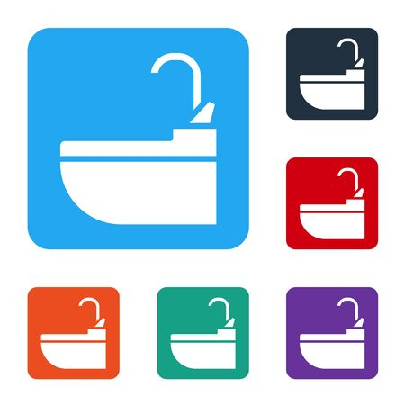 White Washbasin with water tap icon isolated on white background. Set icons in color square buttons. Vector Illustration
