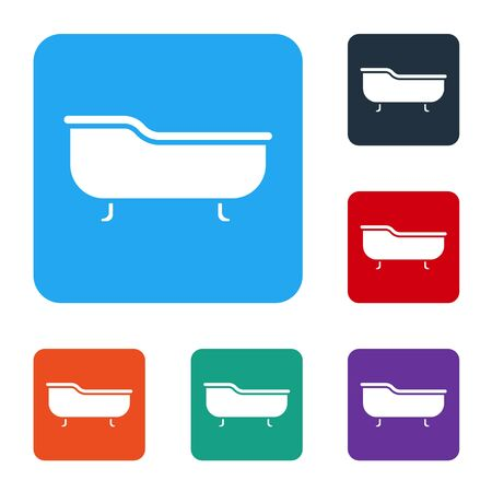 White Bathtub icon isolated on white background. Set icons in color square buttons. Vector Illustration