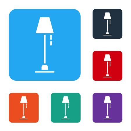White Floor lamp icon isolated on white background. Set icons in color square buttons. Vector Illustration Illustration