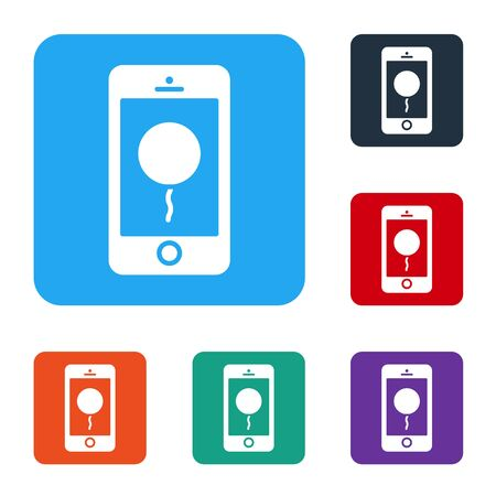 White Mobile phone with birthday message icon isolated on white background. Set icons in color square buttons. Vector Illustration