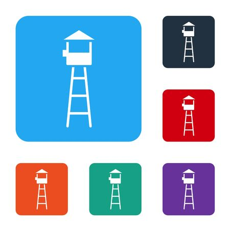 White Watch tower icon isolated on white background. Prison tower, checkpoint, protection territory, state border, military base. Set icons in color square buttons. Vector Illustration