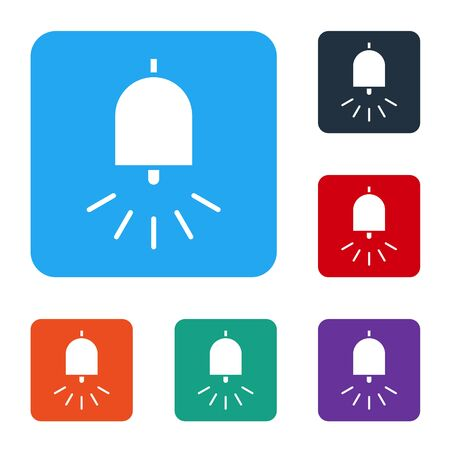 White Ringing alarm bell icon isolated on white background. Fire alarm system. Service bell, handbell sign, notification symbol. Set icons in color square buttons. Vector Illustration