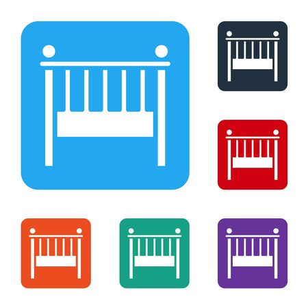 White Baby crib cradle bed icon isolated on white background. Set icons in color square buttons. Vector Illustration
