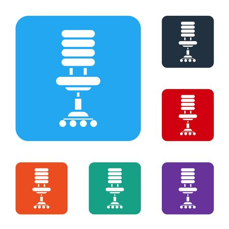 White Office chair icon isolated on white background. Set icons in color square buttons. Vector Illustration Foto de archivo - 141066455
