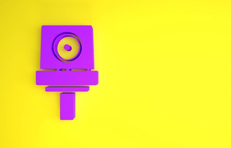 Purple Spray can nozzle cap icon isolated on yellow background. Minimalism concept. 3d illustration 3D render