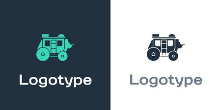 Logotype Western stagecoach icon isolated on white background. Logo design template element. Vector Illustration