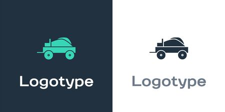 Logotype Wild west covered wagon icon isolated on white background. Logo design template element. Vector Illustration