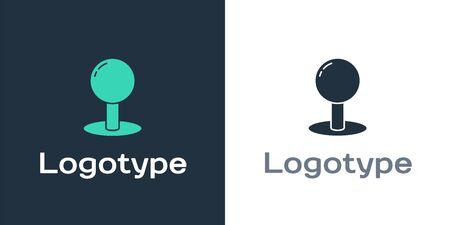 Logotype Push pin icon isolated on white background. Thumbtacks sign. Logo design template element. Vector Illustration