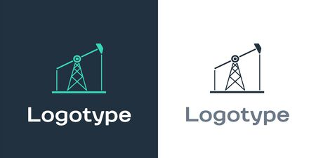 Logotype Oil pump or pump jack icon isolated on white background. Oil rig. Logo design template element. Vector Illustration