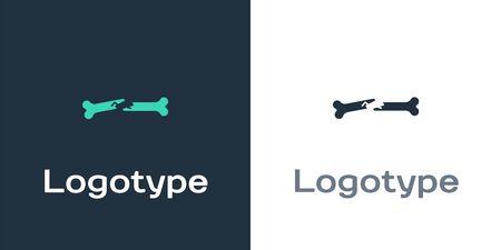 Logotype Human broken bone icon isolated on white background. Logo design template element. Vector Illustration