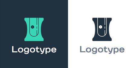 Logotype Pencil sharpener icon isolated on white background. Logo design template element. Vector Illustration